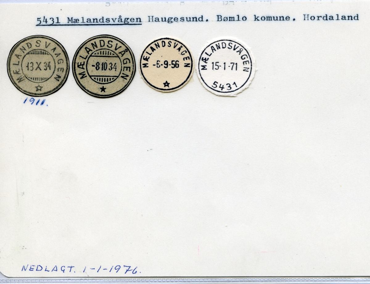Stempelkatalog  5431 Mælandsvågen, Bømlo kommune, Hordaland