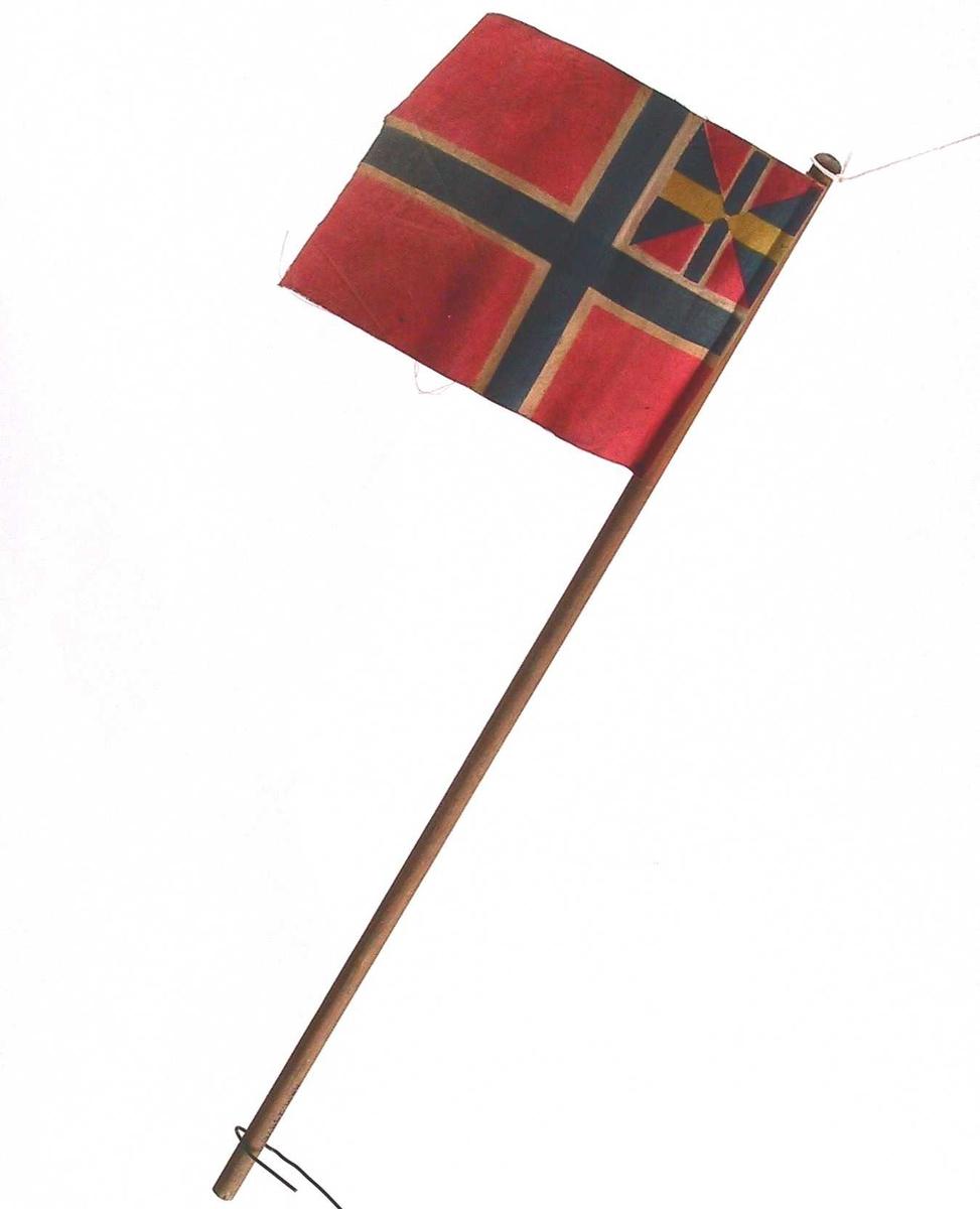 """Norsk flagg med unionsmerke, """"sildesalaten""""."""