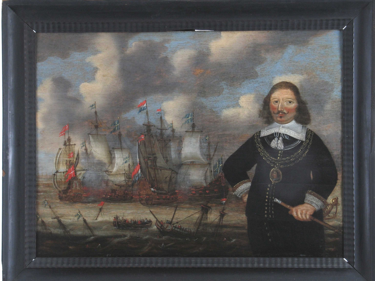 Portrett av Pieter Floriszoon, hollandsk viseadmiral  ( m. Øresundslaget 29. okt. 1658 i bakgrunnen.  T. h. i bildet mannsportrett,  knestykke, han holder h. arm i hoften, i v. en   sølvknappet kommandostav.  Sort  drakt  m. flat   hvit kniplingskrave,  m. bånd m. dusker hengende ned på brystet.  Treradet   gullkjede  om halsen, hvori stor medaljong m. mannsportr. i profil.  Admiralen er barhodet, langt krøllet hår, liten snurrebart.  2/3 av billedbredden viser slaget i Øresund 29. okt. 1658, hvori Floriszoon falt.  I forgr. synkende skip, svensk & holl, druknende,  livbåt full av folk, i bakgr. 2 svenske,  1 dansk og 1 holl. skip i kamp. Gråhvite skyer, blå himmel.