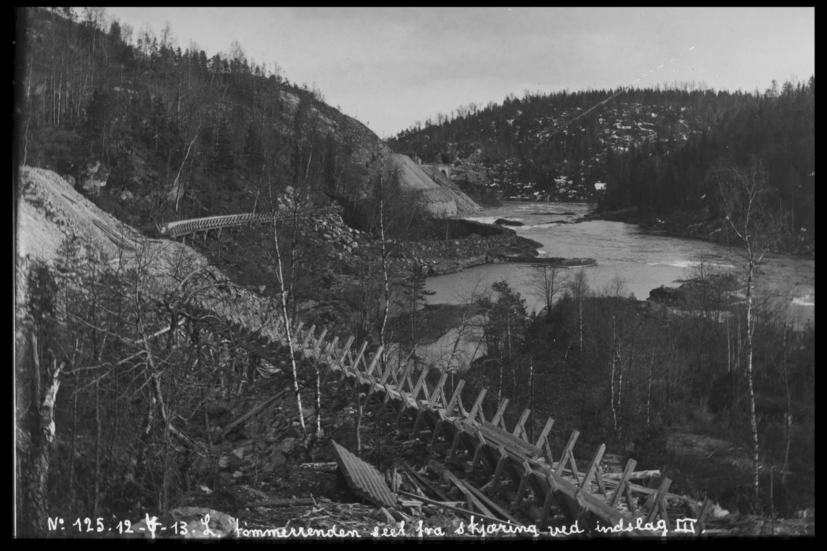 Arendal Fossekompani i begynnelsen av 1900-tallet CD merket 0565, Bilde: 82 Sted: Haugsjå Beskrivelse: Tømmerrenna sett fra skjæring ved inntaket