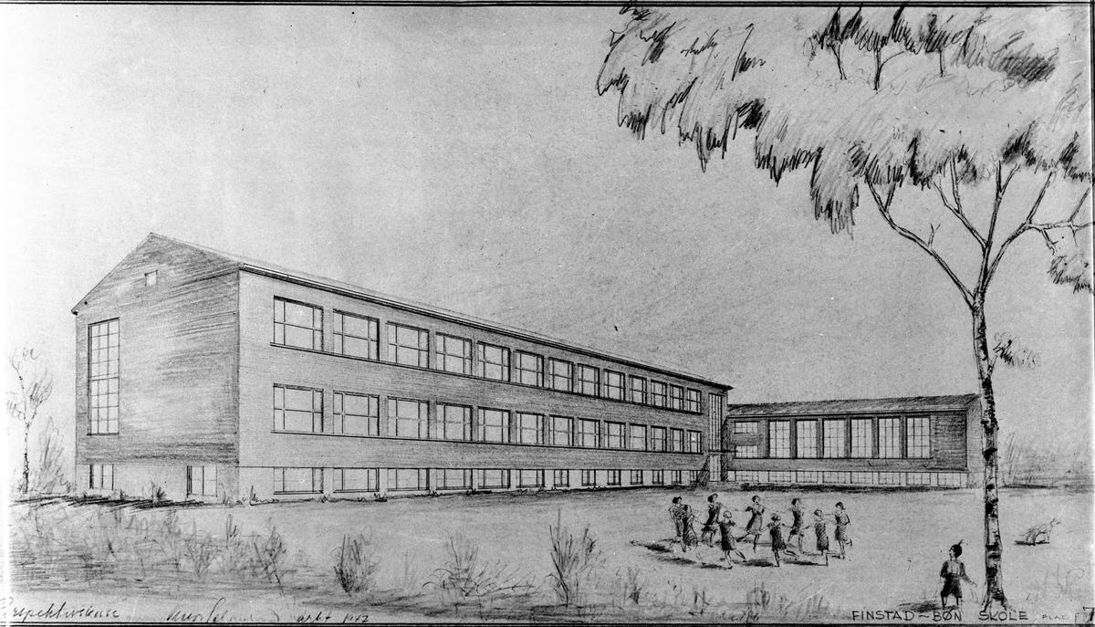 """Avfotografert tegning av skole med barn utenfor. """"Perspektivskisse av Finstad – Bøn skole 1947."""""""