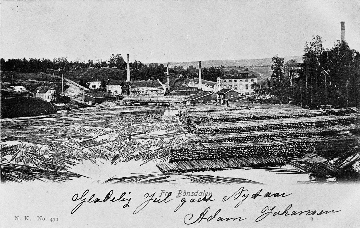 Bilde eller kort fra Bønsdalen fabrikker, med julehilsen fra Adam Johansen skrevet på.