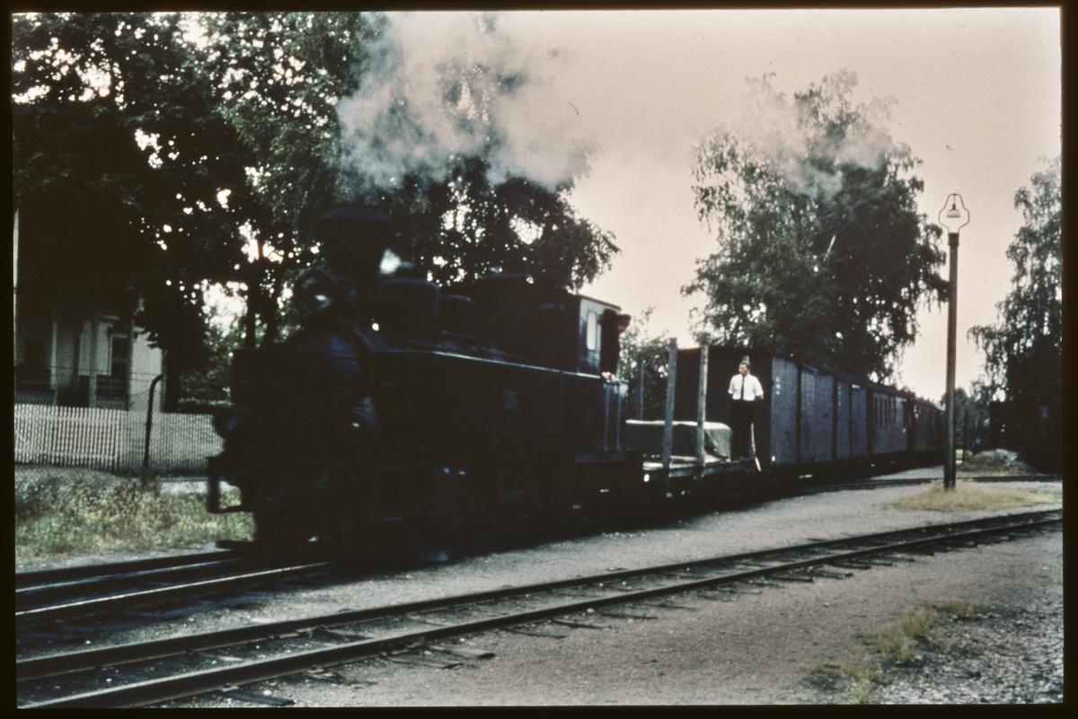 Damplokomotiv / PRYDZ med godsvogner på Sørumsand stasjon.
