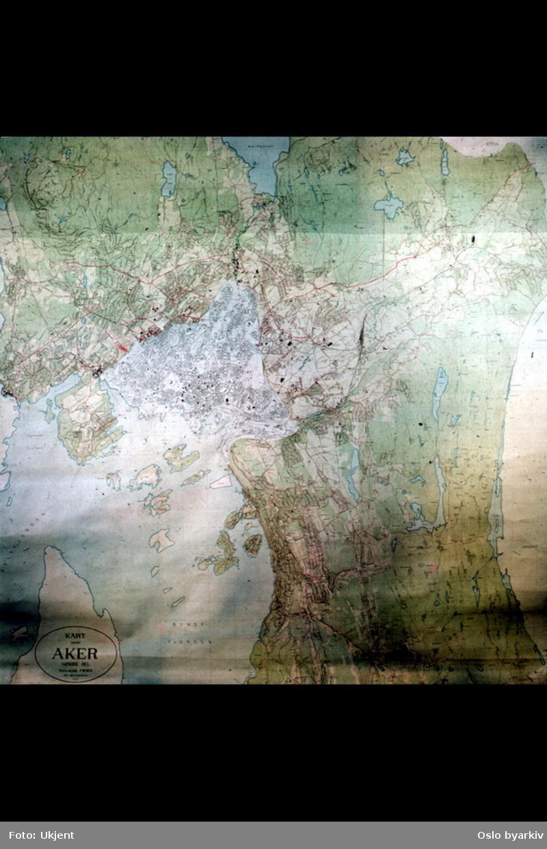 Kart over Oslo og Aker fra 1938 i farger