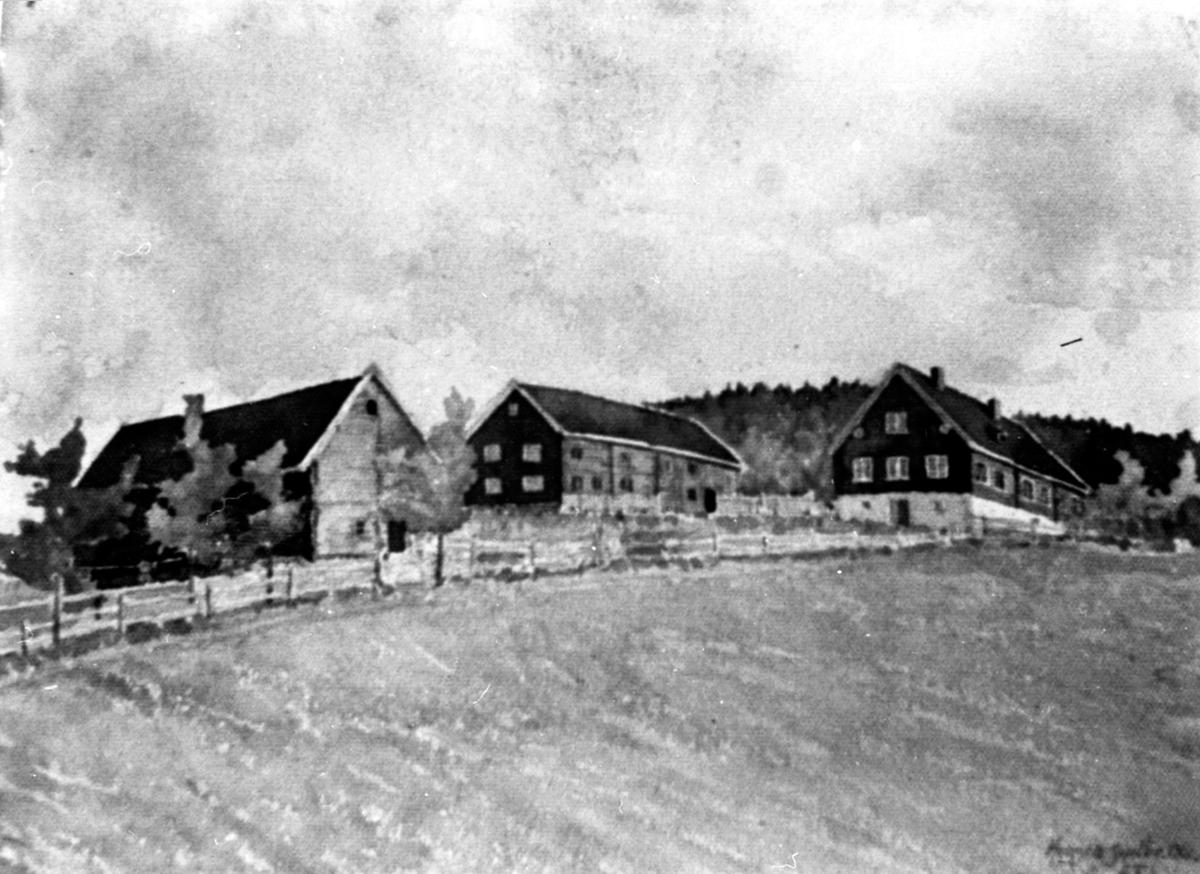 Heggen, Helgøya. Maleri av A. Faye Lund fra 1906.