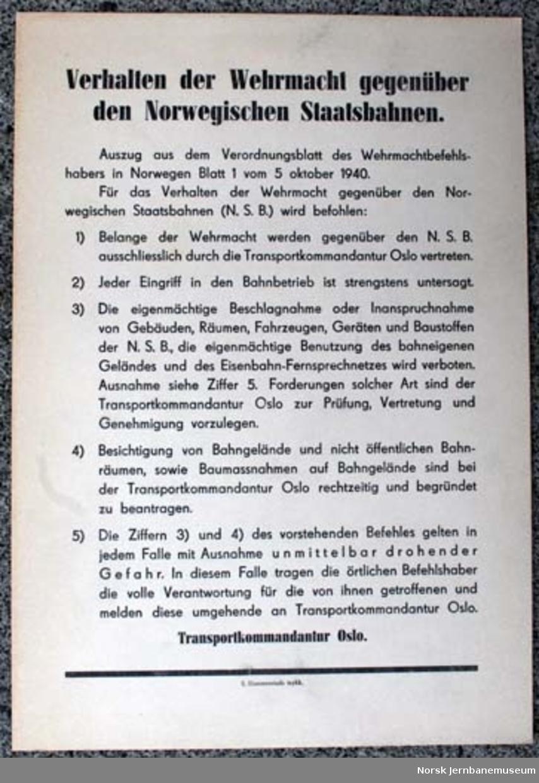 """Oppslag : """"Verhalten der Wehrmacht gegenüber den Norwegischen Staatsbahnen."""""""