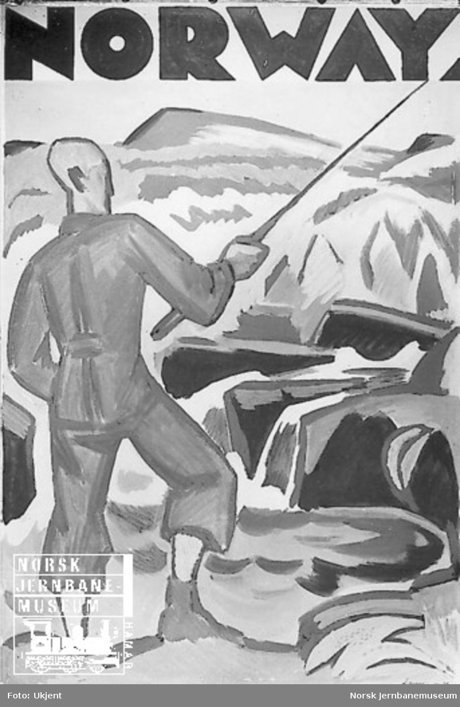 Reiselivsplakat: Norway (med tegning av mann med fiskestang)