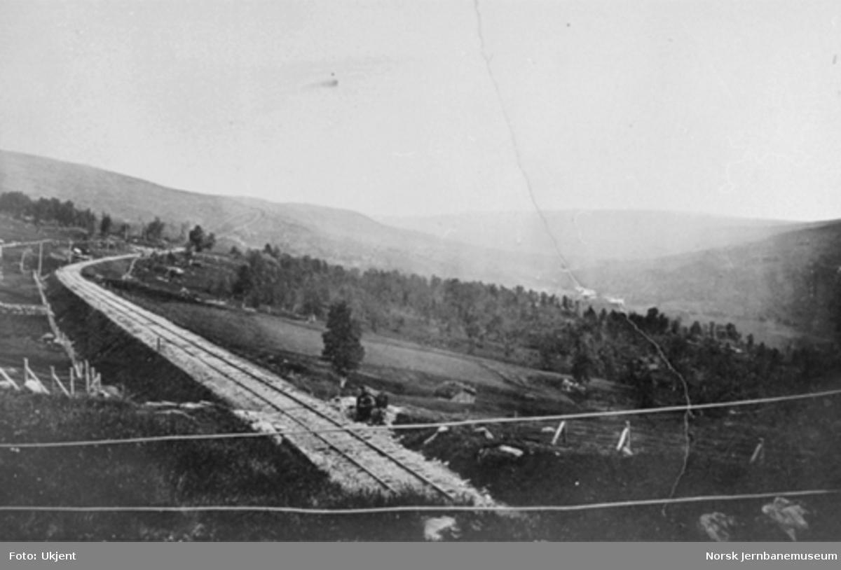 Parti med jernbanen og dalen sør for Ålen