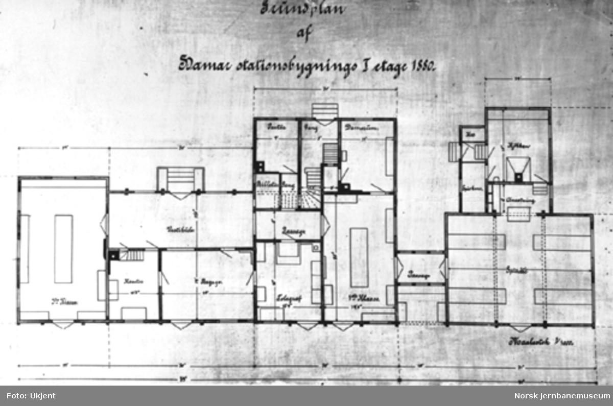 Hamar stasjonsbygning 1880 : grunnplan for 1. etasje