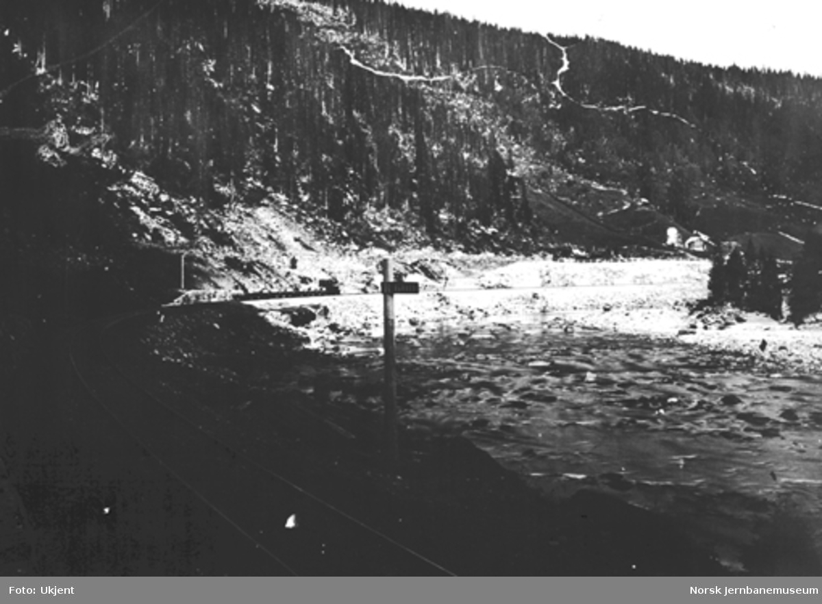 Jernbanelinjen ved Almåskroken, et type IV-lok med sju grusvogner i bakgrunnen