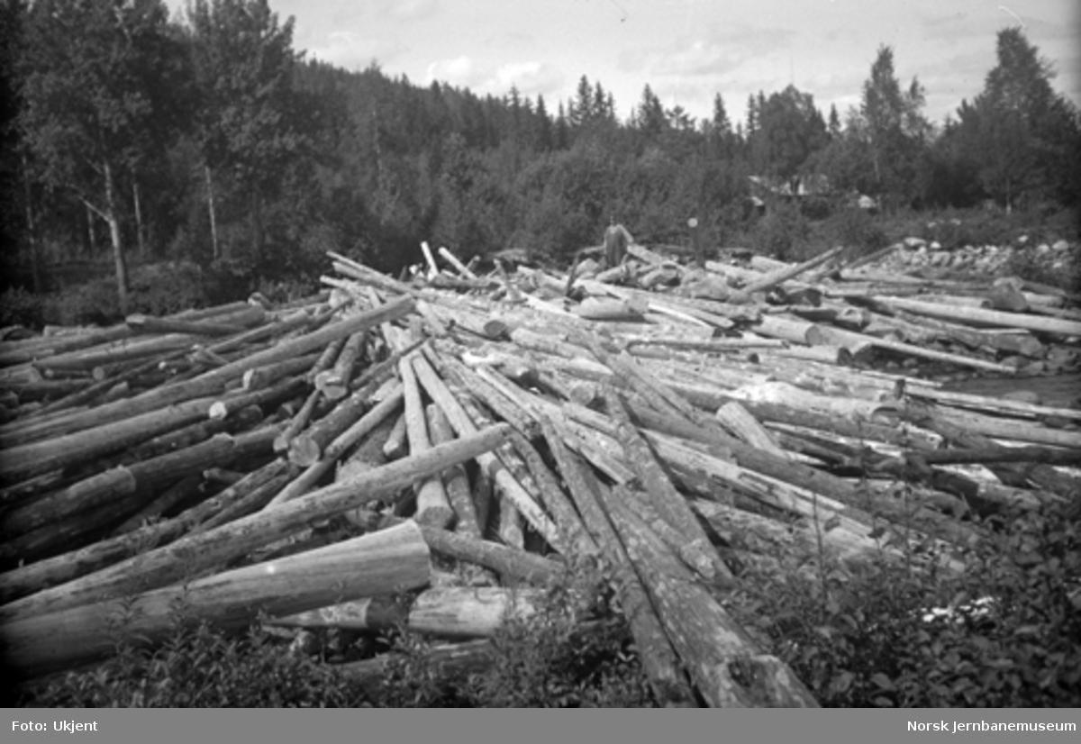 Tømmeransamling i Hovda elv