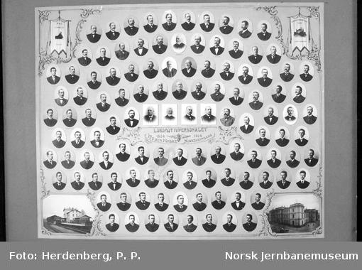 Fotomontasje med Hovedbanens lokomotivpersonale, to faner og Oslo Ø og Eidsvoll stasjoner