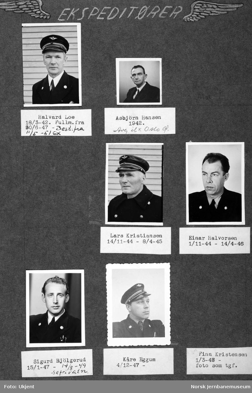 Personalbilder fra Mo i Rana stasjon : ekspeditørene Loe, Hansen, Kristiansen, Halvorsen, Bjølgerud og Eggum