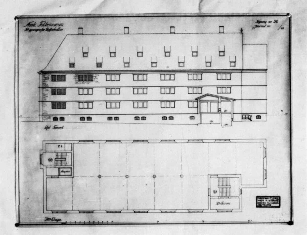 Plantegninger, fra 1925, fra arkitektene Bjercke og Eliassen. Utkast til nye museumsbygninger. Forslag til bygningen for bygdekultur. Plan for andre etasje.