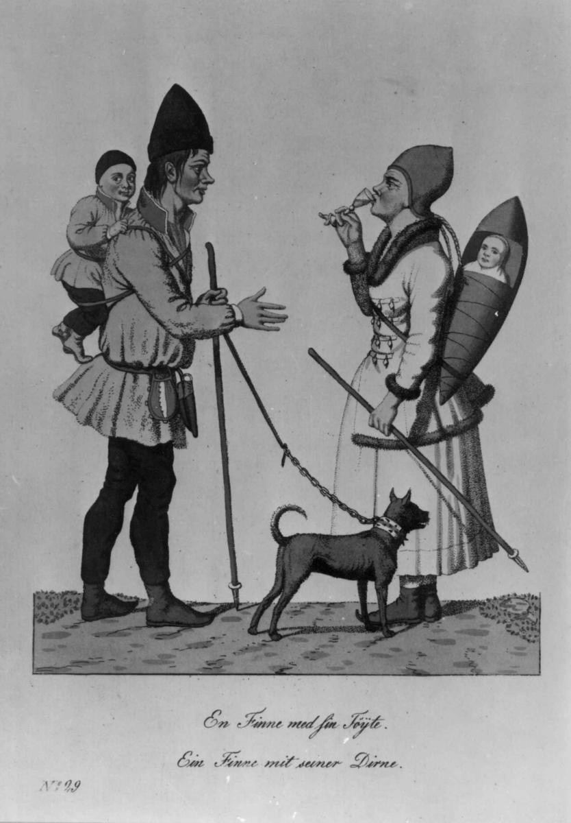 """""""En Finne med sin Töyte"""" Tegning av en mann med et barn på ryggen og hund i bånd,  en kvinne med barn i komse. Etter Dreiers tegning 1812-15."""