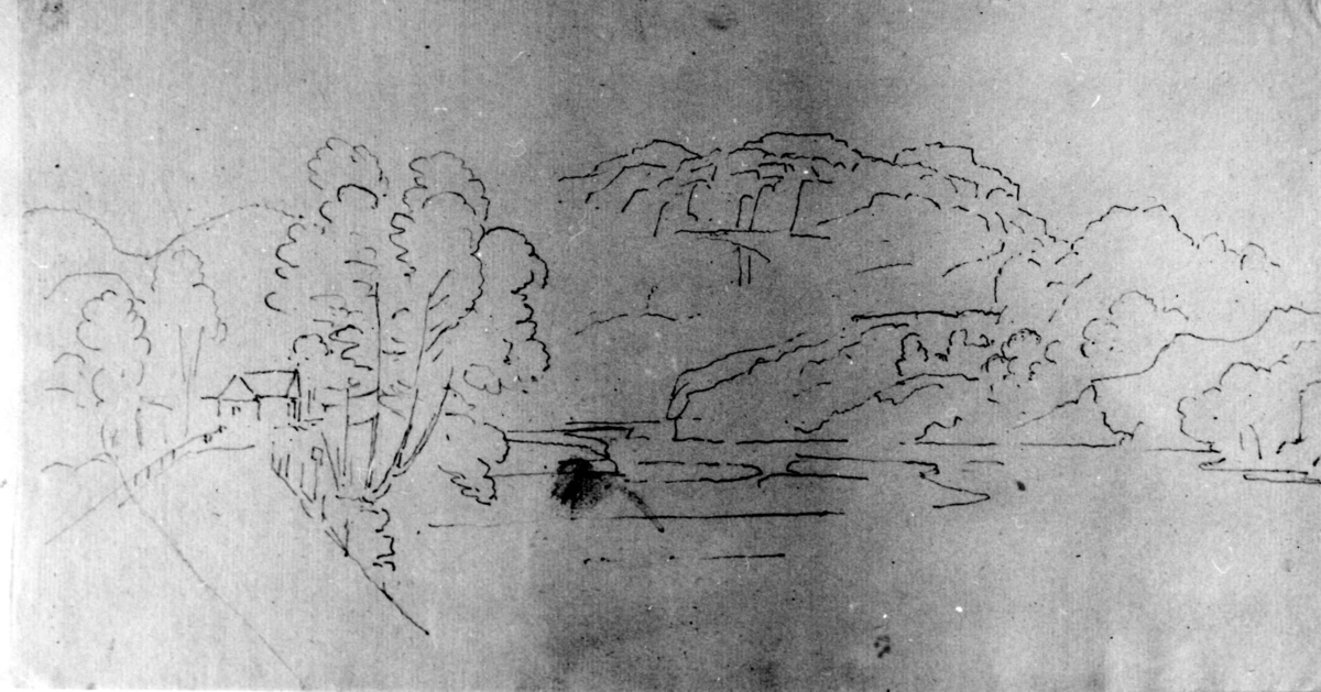 """Kvistrum, Båhuslen, Sverige. Fra skissealbum av John W. Edy, """"Drawings Norway 1800""""."""