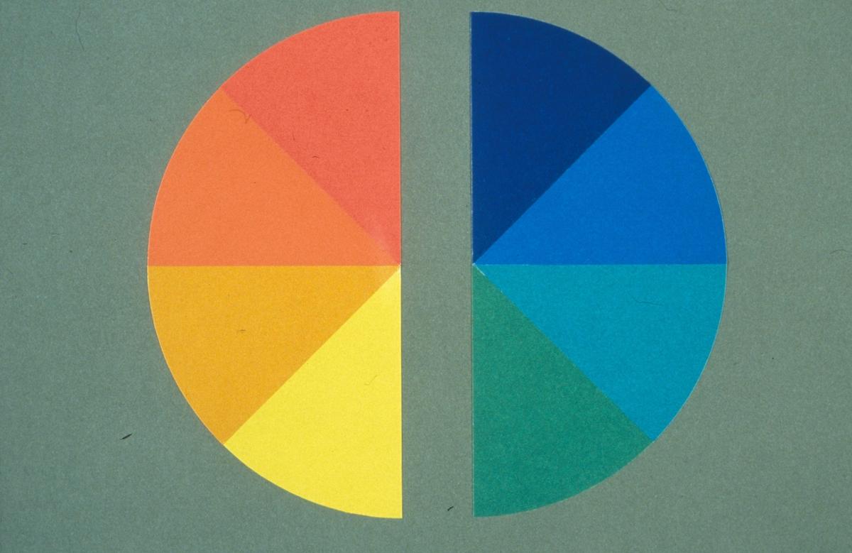 Fargesirkel, delt i to.Fra Fargerådets Fargelære. Fra husflidssamlingen.