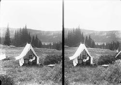 Margrethe Q. Wiborg sitter i telt med kurv ved Holoa seter,