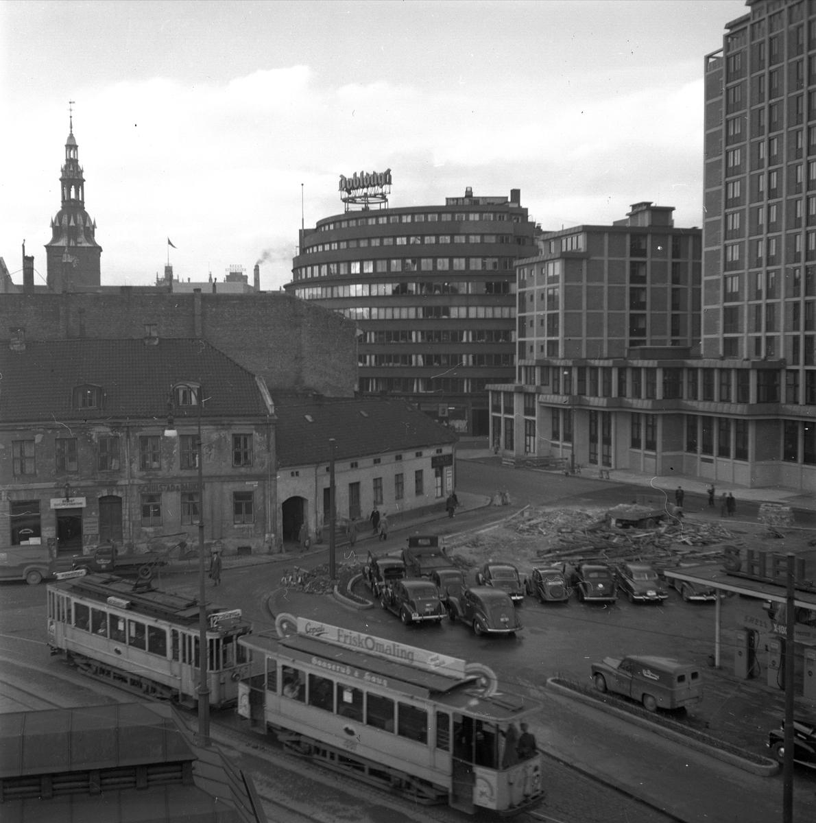 Biskop Gunnerus gate 3, Oslo, 28.11.1951. Hotell Viking. Gatebilde.