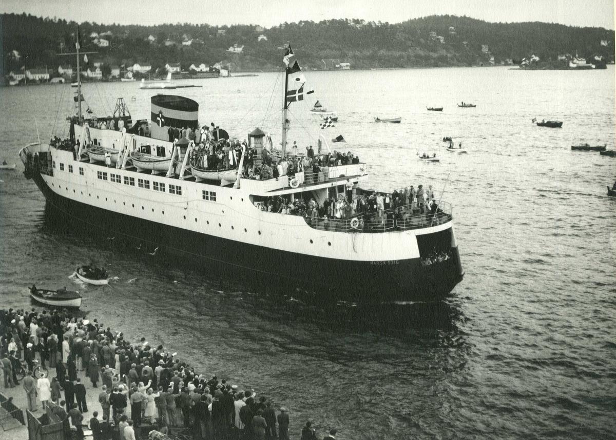"""Fartøybilder fra Agder Se forrige  M/ferje """"Marsk Stig"""", bygget 1940 ved Aalborg Værft A/S, eier A/S Grenaa-Hundested Færgefart (J. P. Pedersen, Kbh.), hjemmehavn Grenaa, Danmark, kjennetegn OZGI  Baksidetekst: Arendals havn, Galtesund. Gave fra Arendal Kamera-Klubb, Arendal, 30. nov. 1964.  Opprinnelig filreferanse i eDepoet: F0122_Fartøybilder-SMW_090525\MARSK STIG II"""