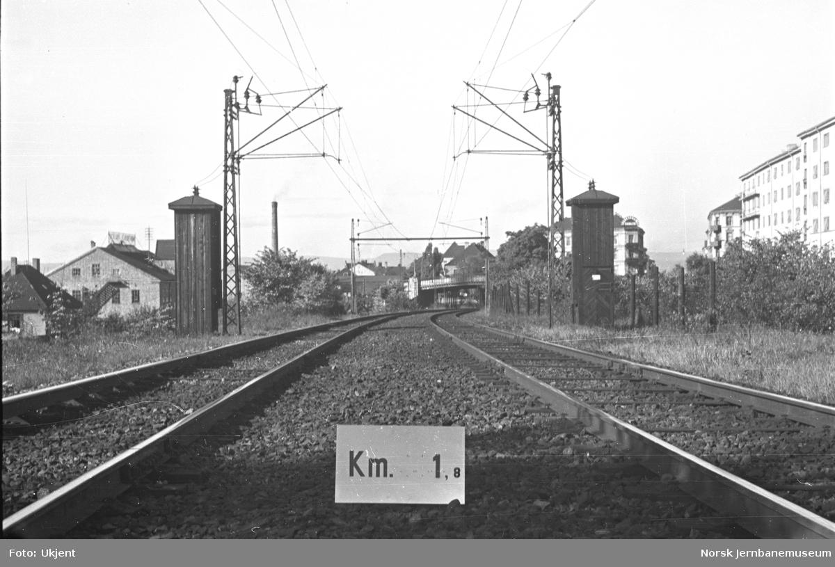 Hovedbanen : linjeføring km 1,8