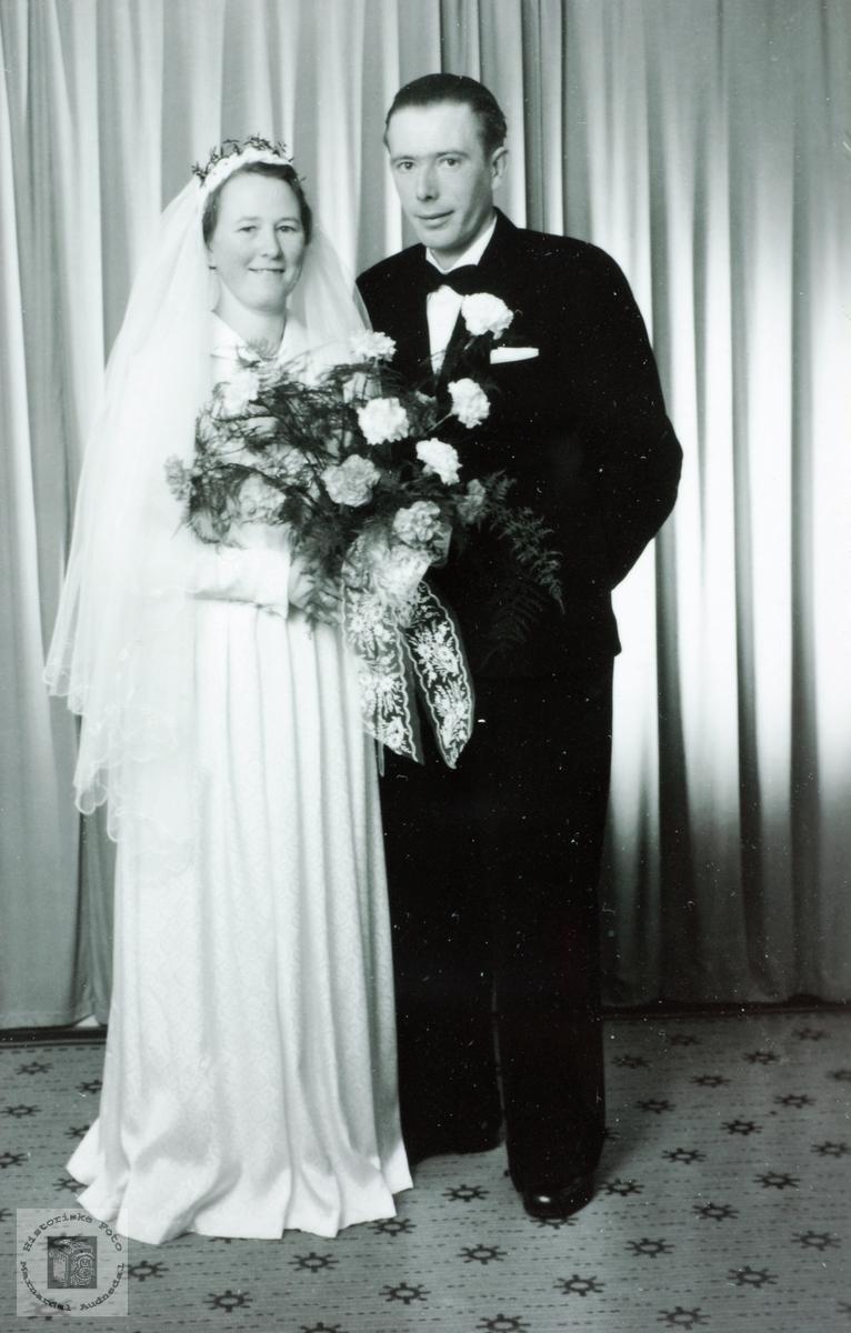 Brudebilde av Inga og Tobias Byremo. Grindheim, Audnedal.