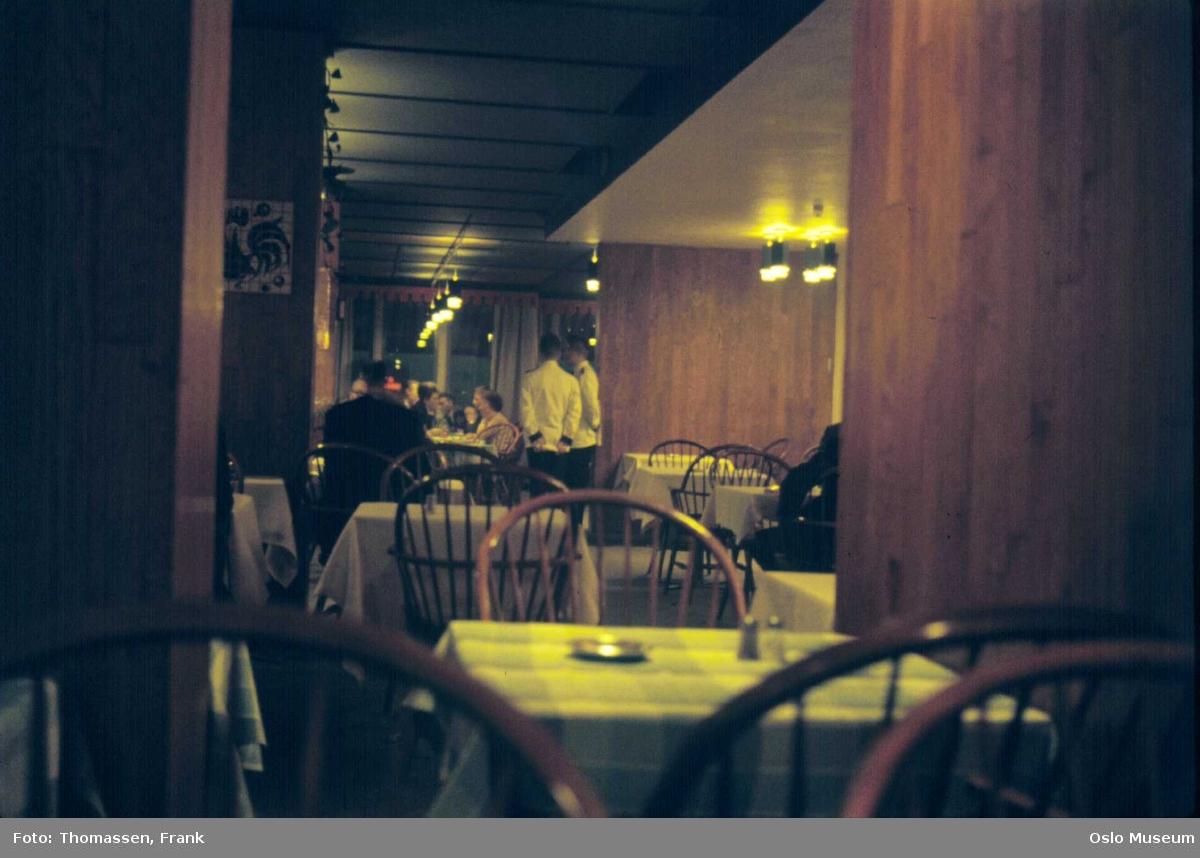Hotell Viking, interiør, restaurant i 13. etasje, servitører, gjester