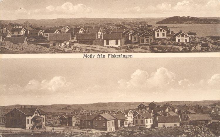 """Tryckt text på kortet: """"Motiv från Fisketången"""". Noterat på kortet: """"F. municipalsamhälle på 1920-talet. Övre delen: mot so. Nedre delen: mot ö. skolhuset längst till v""""."""
