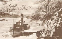"""Tryckt text på kortet: """"Strandvägen, Kungelf"""". """"God Jul""""."""