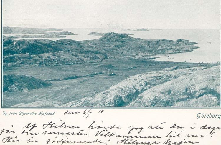 """Tryckt text på kortet: """"Vy från Stjernviks Hafsbad. Göteborg."""""""