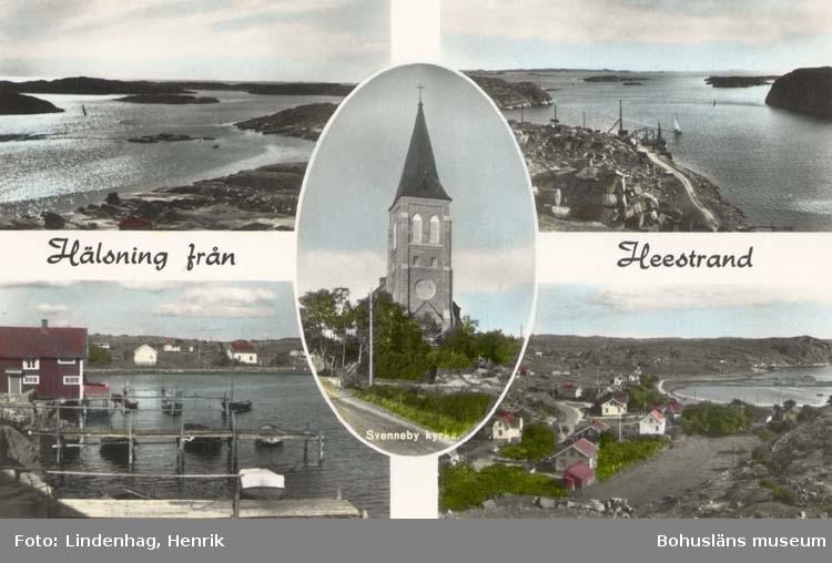 """Tryckt text på kortet: """"Hälsning från Heestrand."""" ::"""