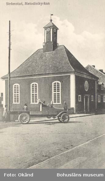 """Tryckt text på kortet: """"Strömstad. Metodistkyrkan.""""  ::"""