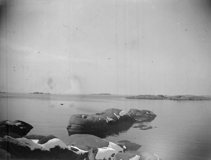 """Enligt text som medföljde bilden: """"Lysekil, vid Stångehufud, Hvalen 1899""""."""
