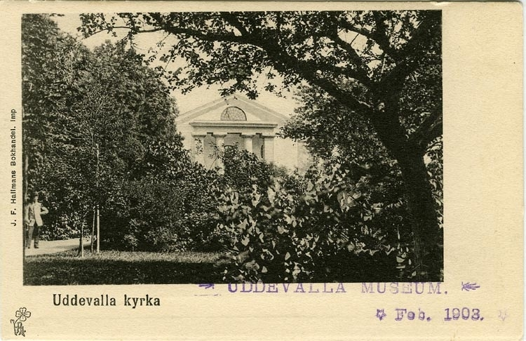 """Tryckt text på kortets framsida: """"Uddevalla Kyrka.""""  ::"""