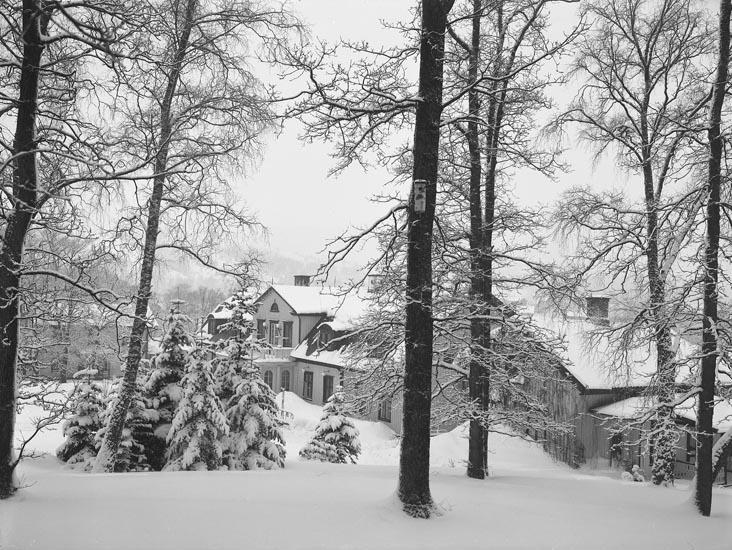 """Enligt medföljande noteringar: """"1937. 4. Herrgården i snöskrud.""""  Uppgifter ifrån Munkedals HBF: """"Fotot taget från öster."""""""