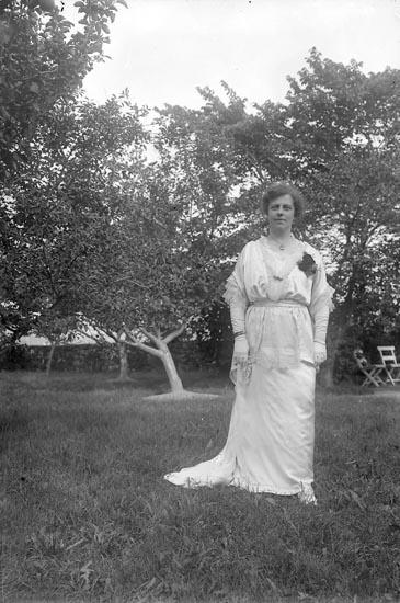 """Enligt fotografens journal nr 3 1916-1917: """"Thorssell, Fru Gudrun Göteborg, taget i trädgården på Halleby brudkl.""""."""