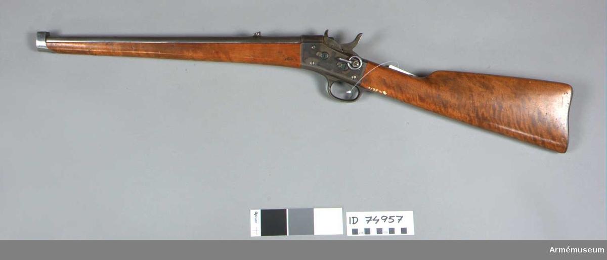 Grupp E II f. Remingtons system, blank pipa, ståndsikte med fällklaff. Tillv. vid Carl Gustafs stads gevärsfaktori 1877.   Jfr AM 26108 som också har tillv nr. 2 men är gjort i samma faktori 1870.
