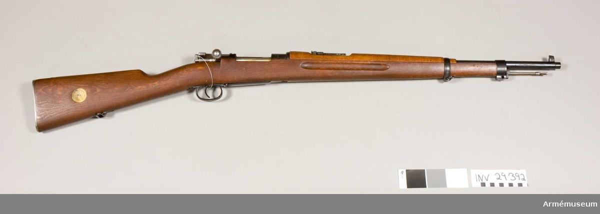 Grupp E II. 6,5 mm gevär m/1938, system Mauser, utan bajonett.