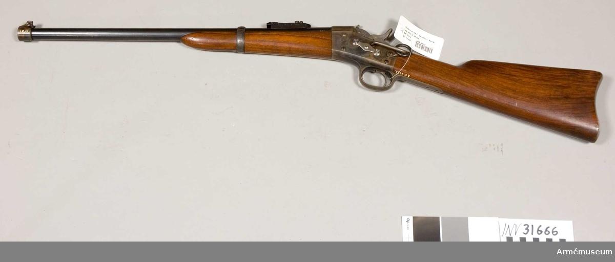 Grupp E II. Med Remingtons mekanism för kavalleri.  Samhörande nr är AM.031666-AM.031667, karbin, mynningshylsa.