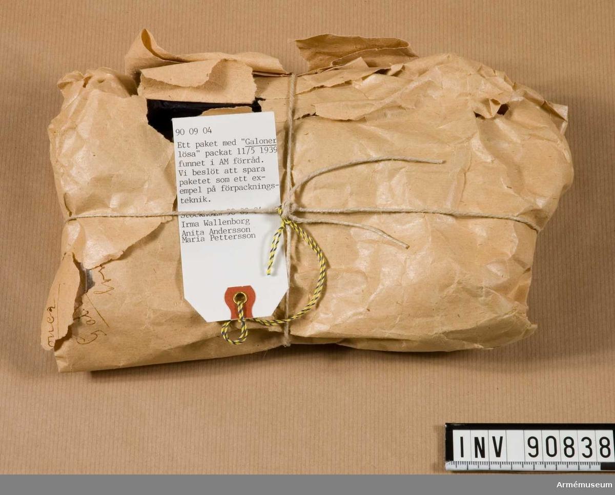 Paket på galoner packat 11/5 1939.