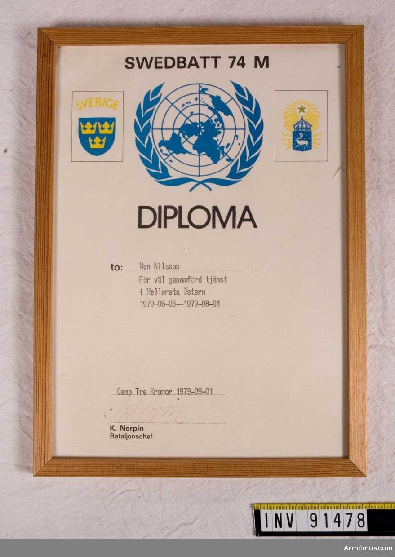 Tjänstediplom för men. Nilsson, Swedbatt 74 M