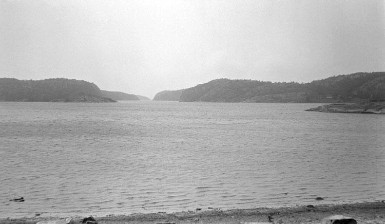 Enligt senare noteringar: Dynekilen, utsikt från nya landsvägen mot Björnerud. 26 Juni 1921.