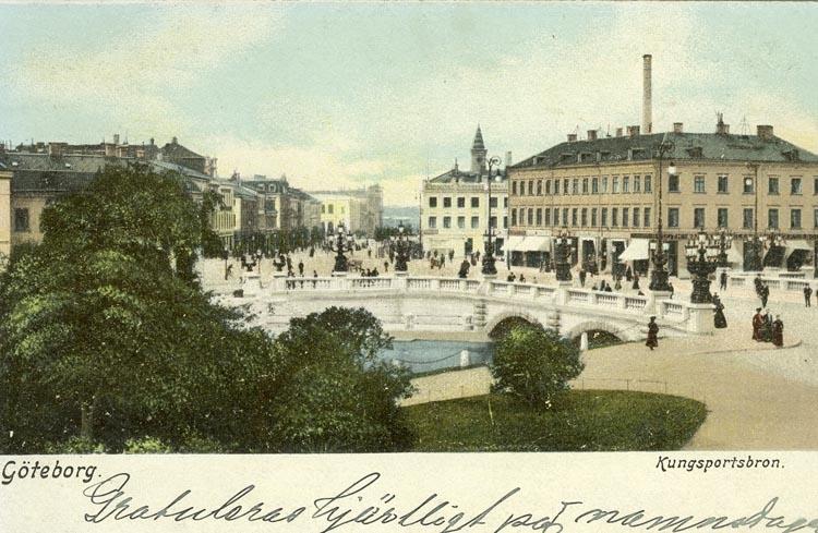 Notering på kortet: Göteborg. Kungsportsbron.