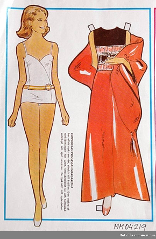 Klippdockan prinsessan Margaretha med aftonklänning, outklippt från veckotidning.
