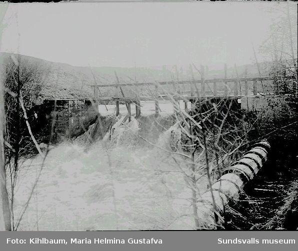 Damm, vattenfall. Troligen vid kvarnen i Skäljom, Ljustorp.