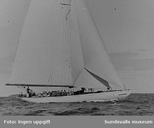 """Segelbåten """"Allona"""".""""Allona"""" beställdes 1899 på Stockholms Båtbyggeriaktiebolag, troligen ägt av August Plym. Konstruktör var ingenjör Axel Nygren.Längd över allt, l ö a, var 26 meter, längd efter vattenlinjen, l vl , 19 meter, bredd 5,20 meter, djupgående 3,70 meter. Deplacementet var på 9 ton. Segelarean omfattde 300 m2 (375 m2 ursprungligen, före omriggning). Båten var utrustad med gaffelrigg, bermudasrigg, mesanmast (för att sätta segelmängden lättare?). I kajutan fanns sex kojer, i chefshytten och i styrmanshytten vardera fyra kojer, samt tre kojer i skansen."""