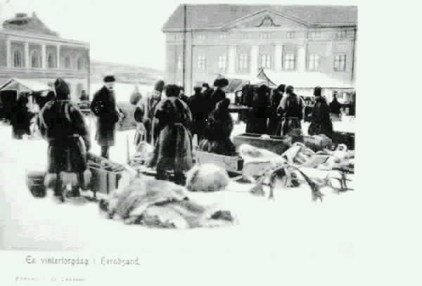 "Torghandel med samer. Text på vykortet ""En vinterdag i Hernösand."""