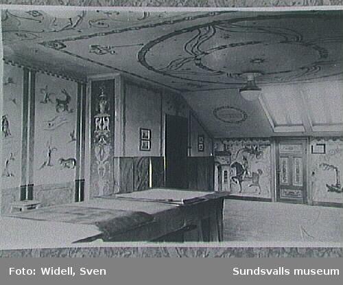 Interiör från ateljén, kursen för fackteckning och dekorationsmålning. Sundsvalls stads Lärlings- och Yrkesskolor (fungerade under detta namn 1919-1942).