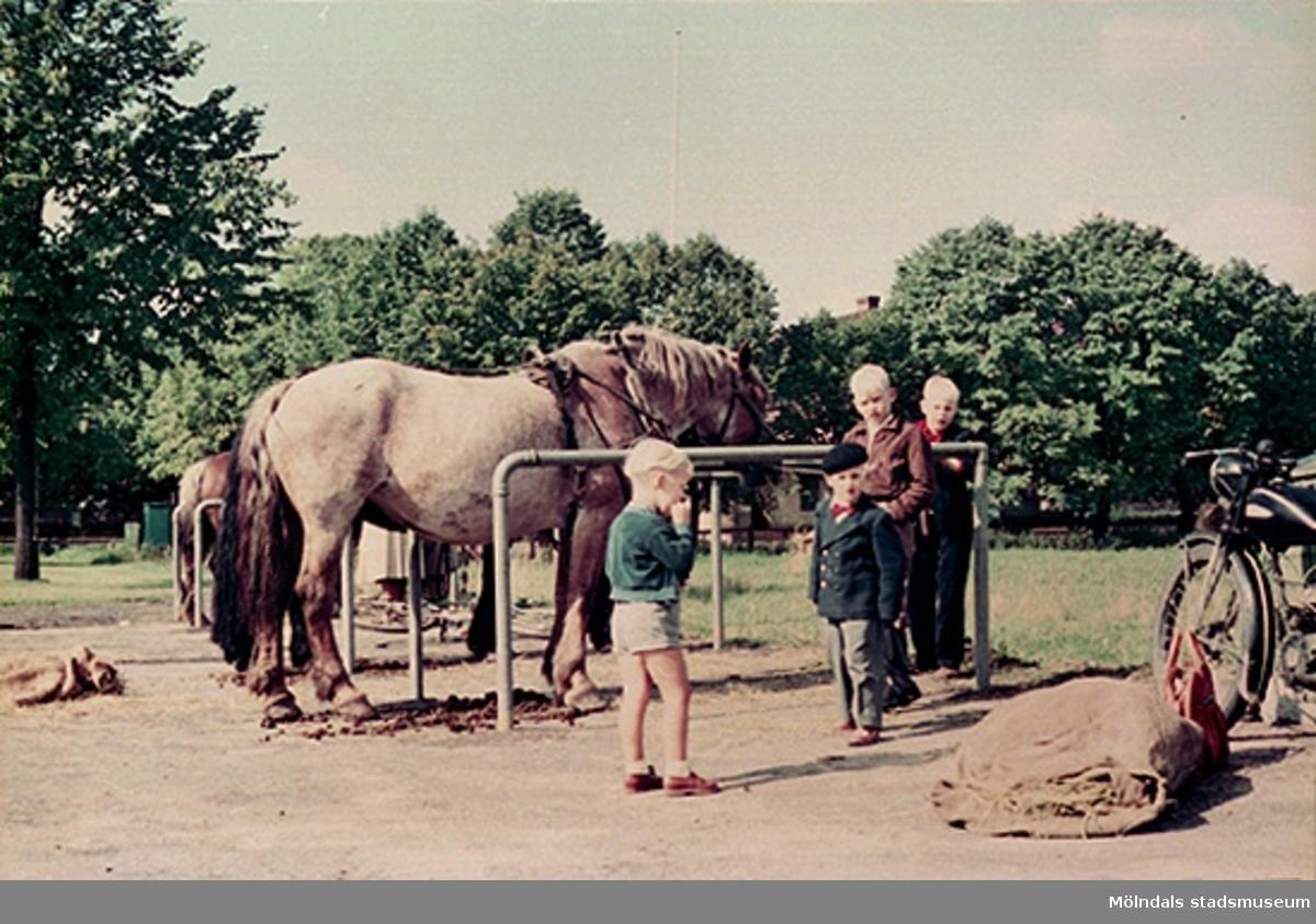 Torghandlarnas hästar och några barn står på Nya torget. Det låg på gränsen mellan Mölndals kvarnby och Trädgården.