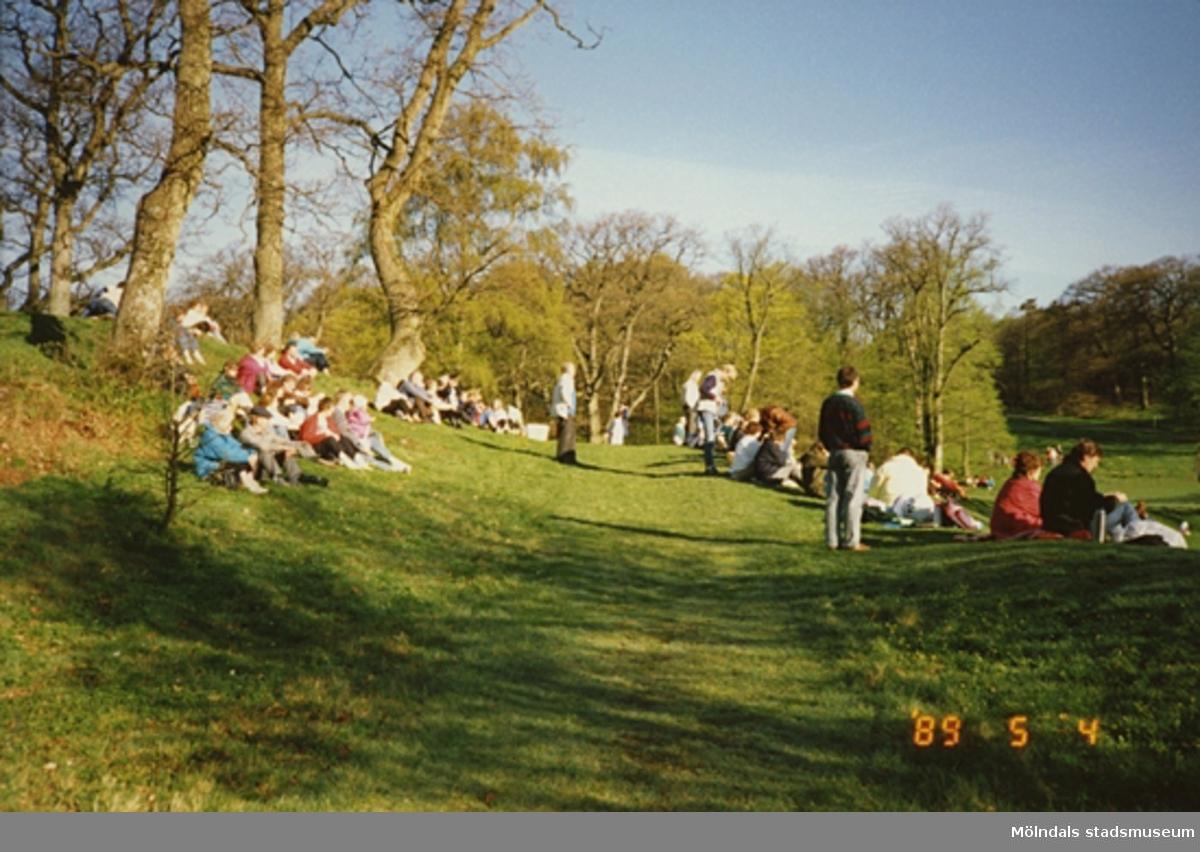 Folk sitter och solar på gräsmattan.
